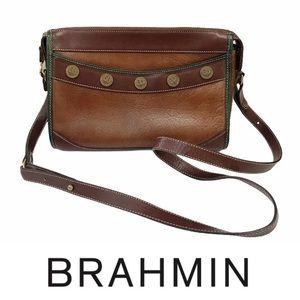 Vintage BRAHMIN Brown Leather Eagle Button Bag